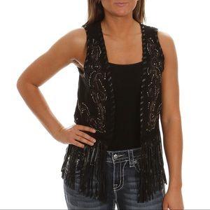Miss Me Embroidered Black Fringe Festival Vest.